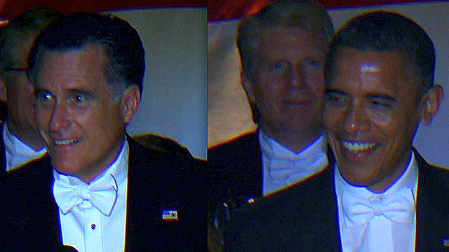Romney, Obama poke fun at themselves