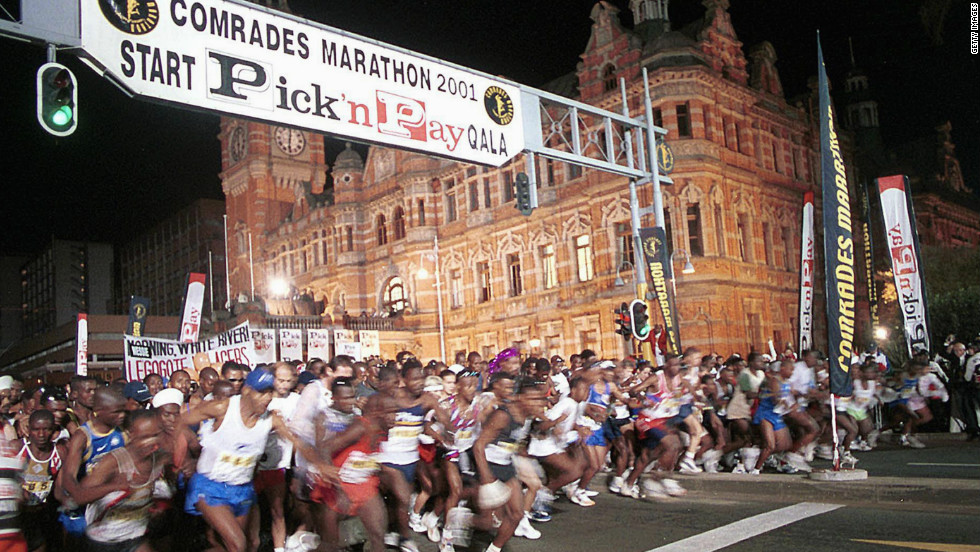 The start of the annual Comrades Marathon -- a famous ultra distance running race -- which sees over 12,000 runners tackle the 89.2km from Durban to Pietermaritzburg in South Africa.