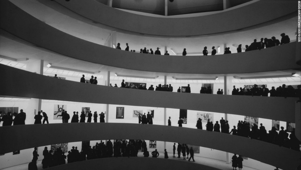 "Frank Lloyd Wright's landmark architectural design, the Guggenheim Museum, will celebrate its 53rd year of being open to the public on October 21. Pictured is the inside of the museum in 1959. Click through to see more of Wright's work. <a href="" http://life.time.com/culture/frank-lloyd-wright-photos-of-an-american-genius-and-his-works/#1"" target=""_blank"">See the entire gallery at Life.com.</a>"