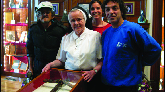 Sister Mary Christopher Dixon, OSF, shows a relic of branches found at Mother Marianne