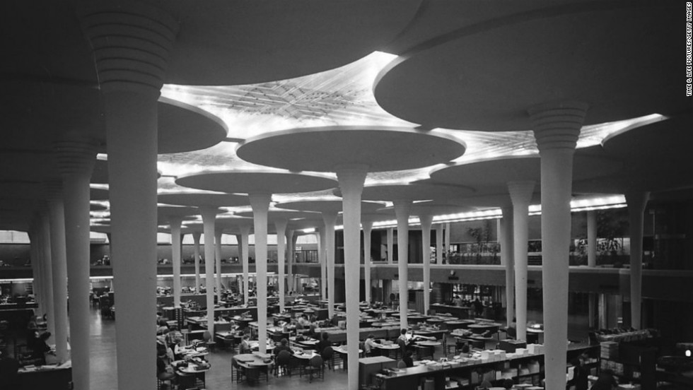 The Johnson Wax building in Racine, Wisconsin, 1950.