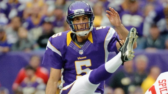 Chris Kluwe, #5 of the Minnesota Vikings, punts the ball during a game against the San Francisco 49ers.