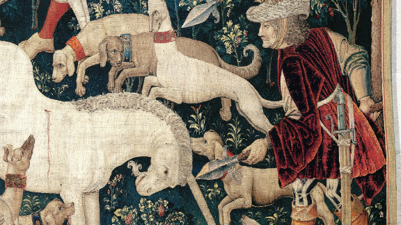 """The Unicorn Defends Itself,"" a tapestry dating from 1495-1505 in the collection of the Metropolitan Museum of Art."