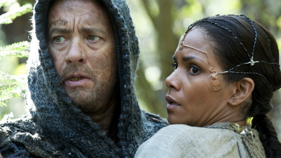 """Tom Hanks stars as Valleysman Zachry and Halle Berry stars as Meronym in """"Cloud Atlas."""""""