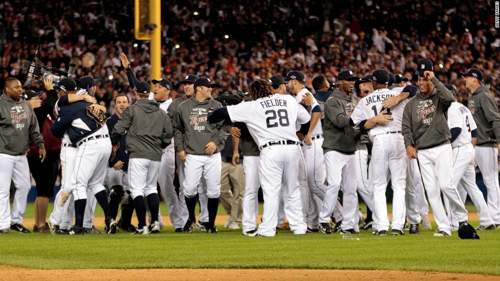 "The Detroit Tigers celebrate after beating the New York Yankees 8-1 to win the American League Championship Series at Comerica Park on October 18, 2012, in Detroit, Michigan. <a href=""http://www.cnn.com/2012/10/16/worldsport/gallery/alcs-game-3/index.html"" target=""_blank"">Look back at Game 3 of the ALCS.</a>"