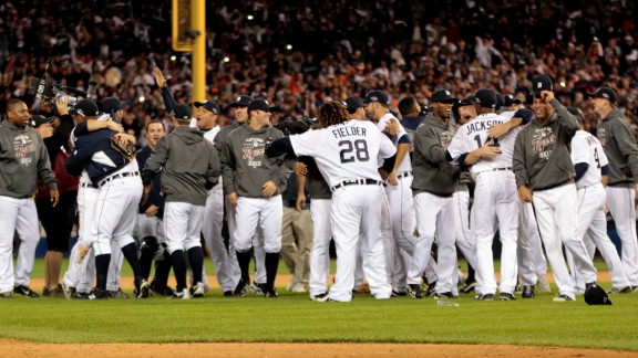 The Detroit Tigers celebrate after beating the New York Yankees 8-1 to win the American League Championship Series at Comerica Park on October 18, 2012, in Detroit, Michigan. Look back at Game 3 of the ALCS.