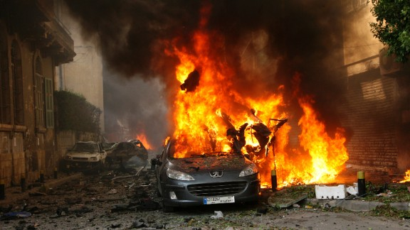 Image #: 19790779    A car burns at the site of an explosion in Ashrafieh, east Beirut, October 19, 2012. At least two people were killed and 15 wounded in a roadside bomb that exploded in central Beirut on Friday, a security source said. REUTERS/Mahmoud Kheir (LEBANON -Tags: - Tags: CIVIL UNREST TPX IMAGES OF THE DAY)       REUTERS /STRINGER /LANDOV