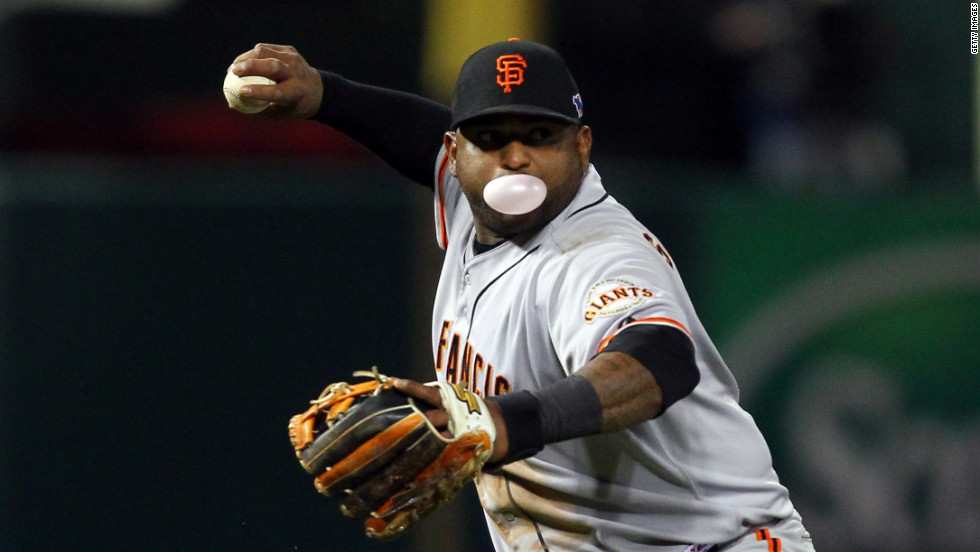 No.48 Pablo Sandoval of the Giants throws the ball to first base in the fifth inning.