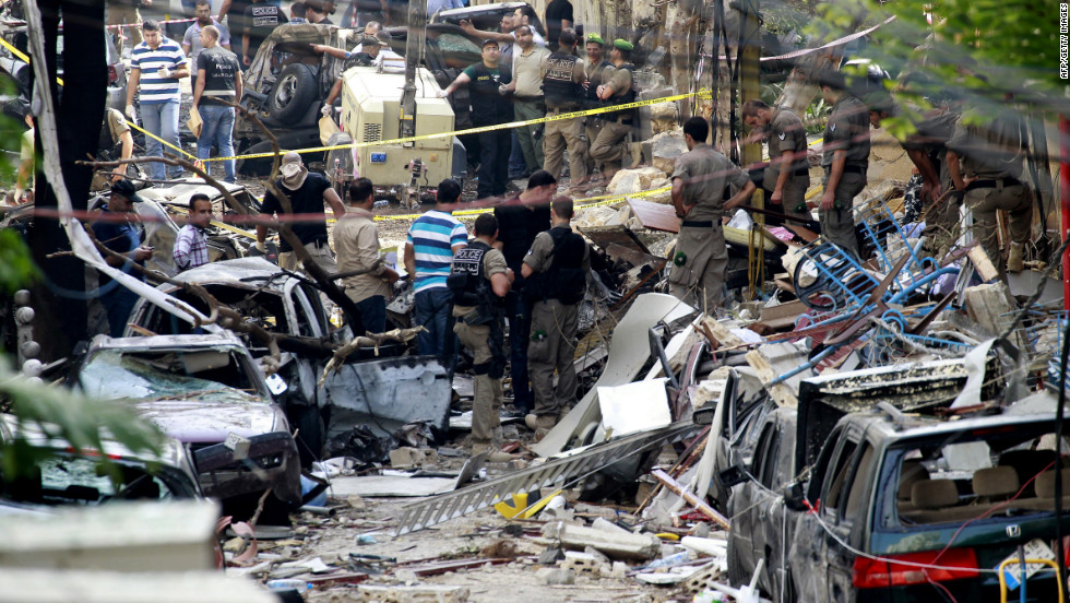 Lebanese security forces inspect damage in Ashrafiyeh on Saturday.