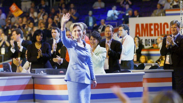 Hillary Clinton waves to the crowd as she arrives on the stage at the Democratic National Convention August 14, 2000, at the Staples Center in Los Angeles.