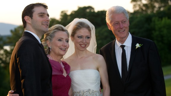The Clintons pose on the day of Chelsea