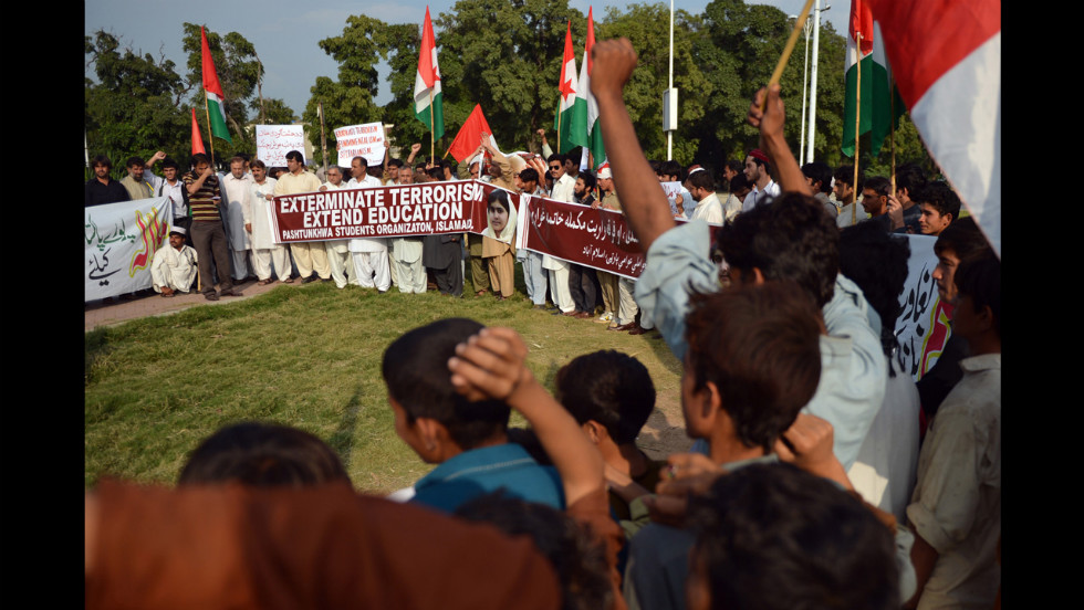 Pakistani demonstrators chant slogans during a protest against the assassination attempt by the Taliban on Tuesday in Islamabad, Pakistan.