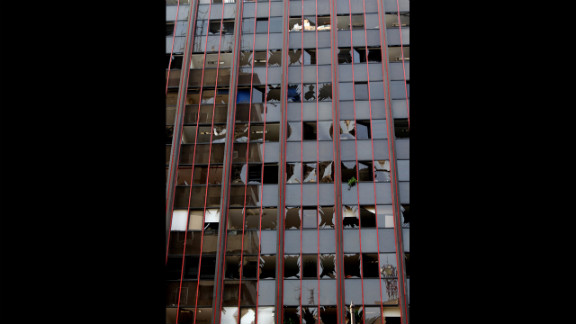 A damaged building is pictured in Beirut