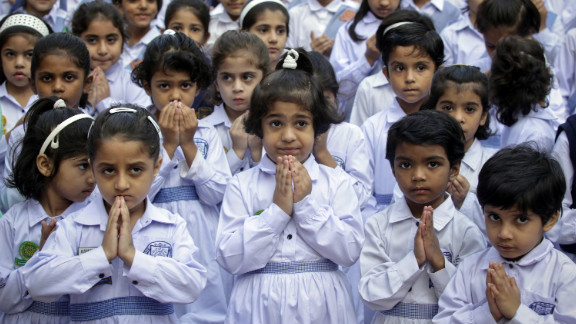 Students at the Sacred Heart Cathedral School in Lahore attend special prayers on Friday, October 19, 2012, for Malala
