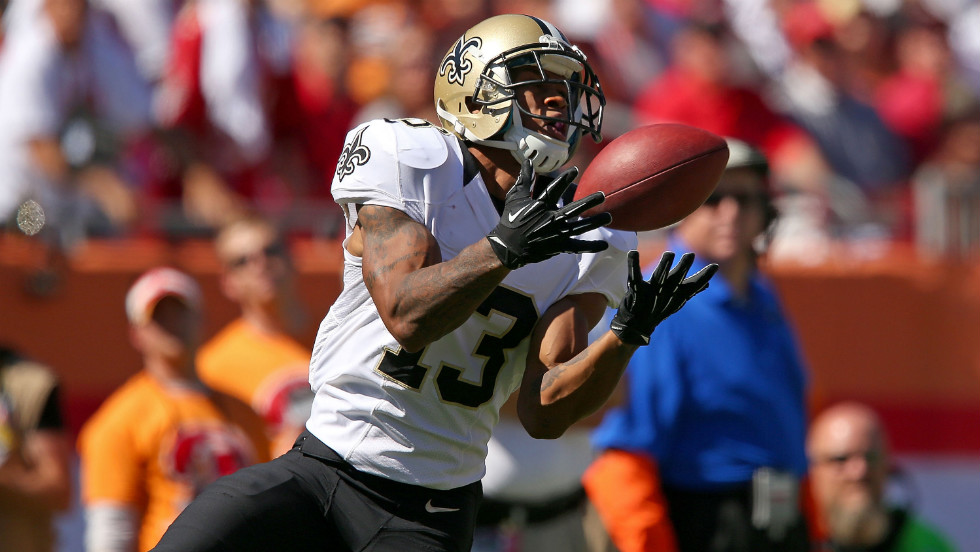 Wide receiver Joe Morgan of the New Orleans Saints makes a catch during a game against the Tampa Bay Buccaneers on Sunday at Raymond Jones Stadium in Tampa.