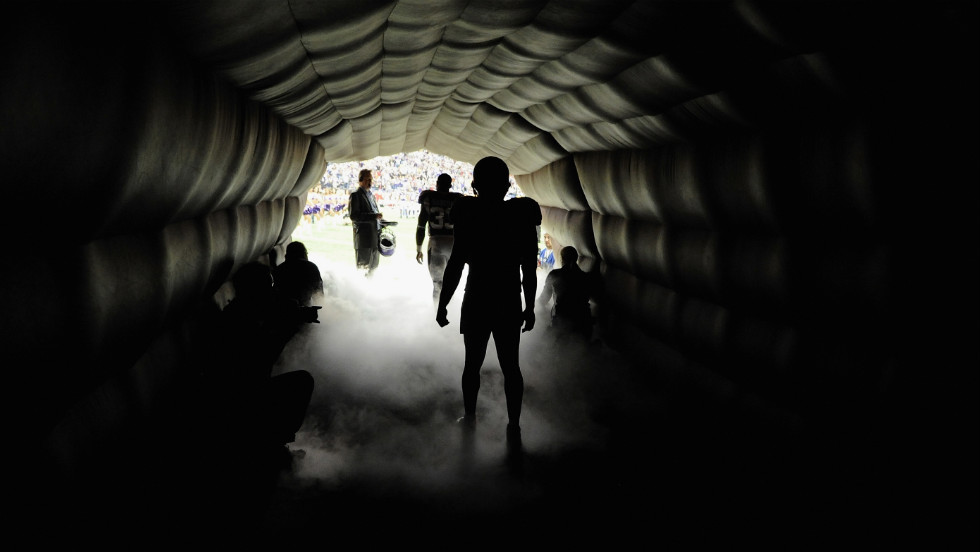 No. 33 Jamarca Sanford and No. 26 Antoine Winfield of the Minnesota Vikings stand in the tunnel on Sunday before the game against the Arizona Cardinals.