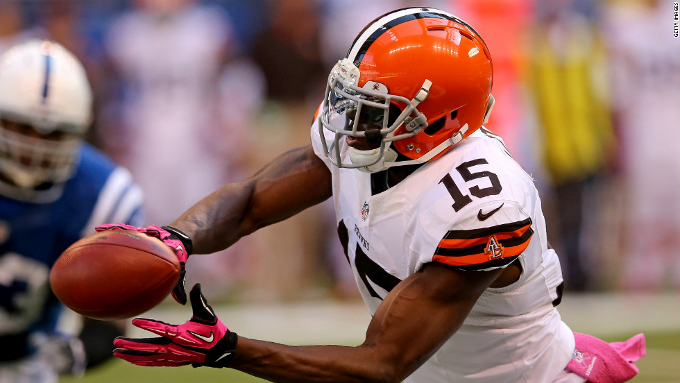 Greg Little of the Cleveland Browns catches a pass during Sunday's game against the Indianapolis Colts.