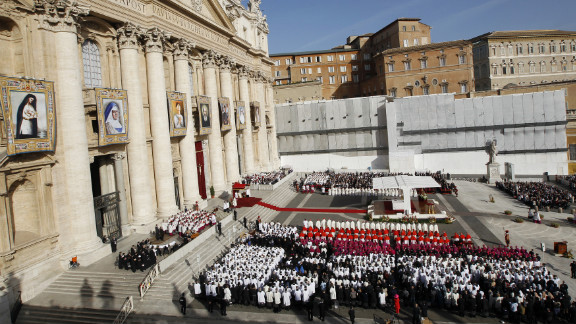 Pope Benedict XVI named seven new saints at Mass on Sunday, October 21, at St. Peter