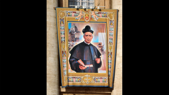 The tapestry of the new saint Giovanni Battista Piamarta hangs on St. Peter