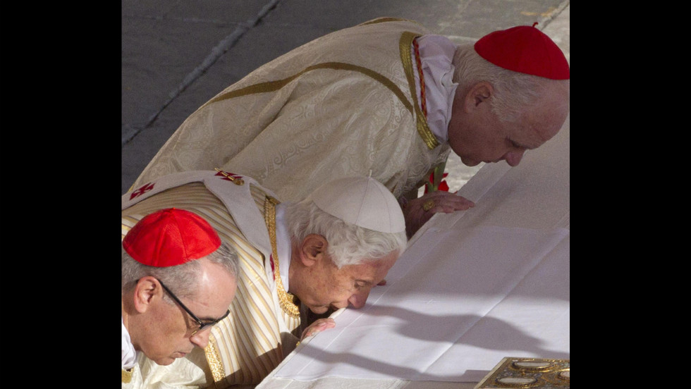 Pope Benedict XVI presides over the Mass on Sunday.