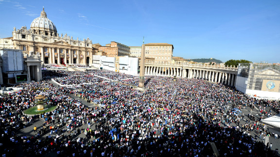 Pilgrims fill St. Peter's Square on Sunday.