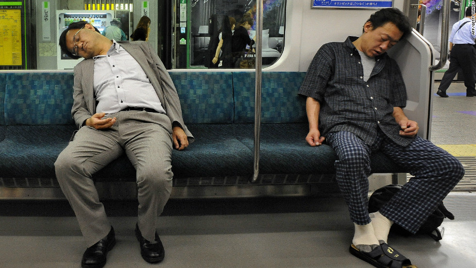 "Life in Tokyo can be tiring with some commuters falling asleep on their way home. It's a familiar site says Sandra Barron, an American writer based in Tokyo. ""There is a tolerance that if the person next to you falls asleep and their head kind of lands on your shoulder, people just put up with it. That happens a lot. People don't like it, they don't cuddle with them or anything but it's kind of accepted that that happens."""