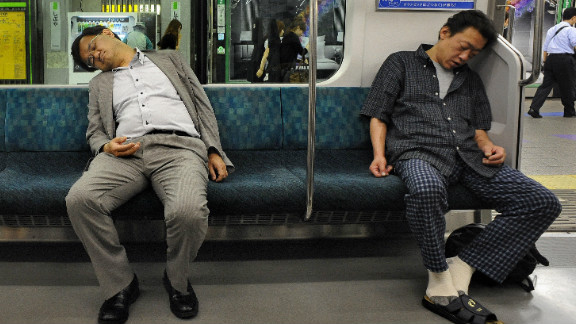 """Life in Tokyo can be tiring with some commuters falling asleep on their way home. It's a familiar site says Sandra Barron, an American writer based in Tokyo. """"There is a tolerance that if the person next to you falls asleep and their head kind of lands on your shoulder, people just put up with it. That happens a lot. People don't like it, they don't cuddle with them or anything but it's kind of accepted that that happens."""""""