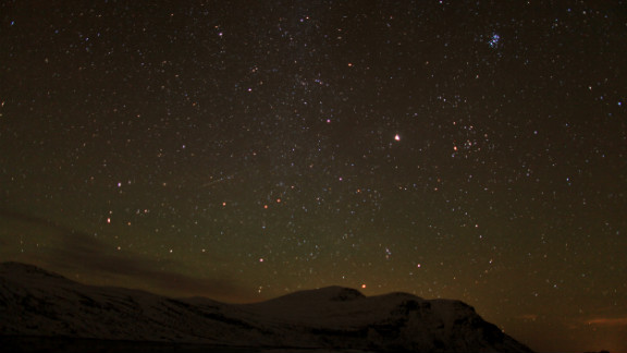 Hans-Dieter Fleger photographed the Orionid meteor shower from the foot of Mount Gaustatoppen in Stavsro, Norway, early Sunday morning.