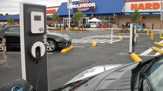 Businesses, such as this hardware store in Seattle are increasingly putting car chargers in their parking lots.