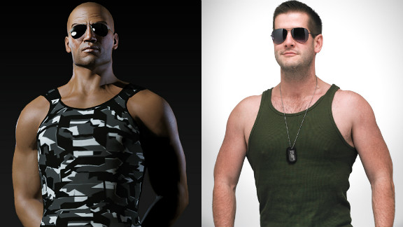 "Marcus Dickinson, right, has dropped 45 pounds and toned up to become more like his online persona, Roc Wieler from ""EVE Online."""