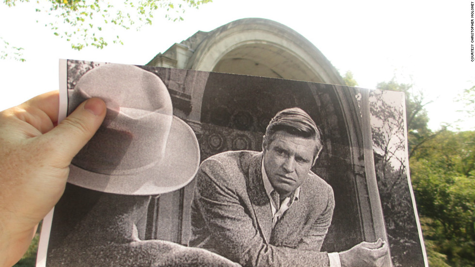 We couldn't resist including this shot of a giant George Peppard at the Naumburg Bandshell. Constructed in 1862, it's located in Central Park, just south of the Bethesda Terrace near 72nd Street.