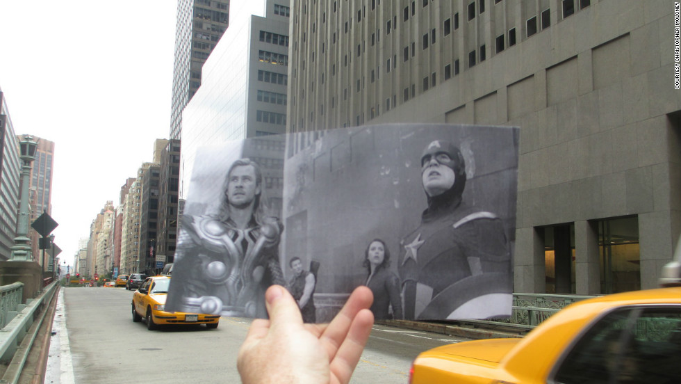 "The exterior of Grand Central Terminal also gets a lot of cinematic love. In this photo, you can see ""The Avengers"" gathered on the Park Avenue viaduct, just behind the terminal, during their epic battle."
