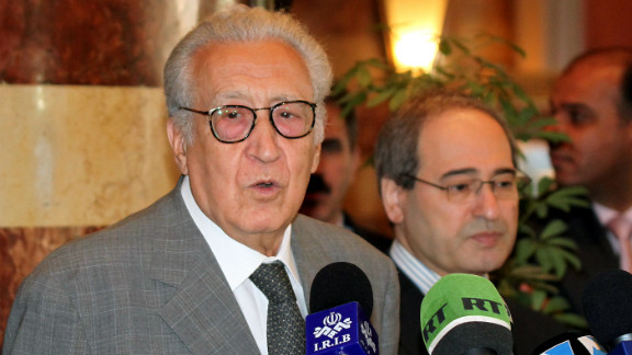 International peace envoy Lakhdar Brahimi holds a press conference in Damascus, Syria, on Sunday.