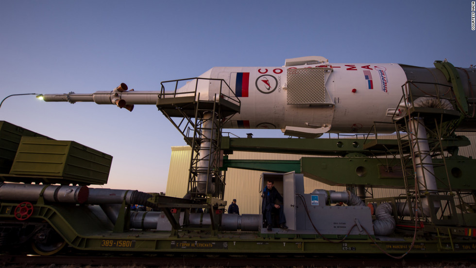 The Soyuz rocket is rolled out to the launch pad Sunday.