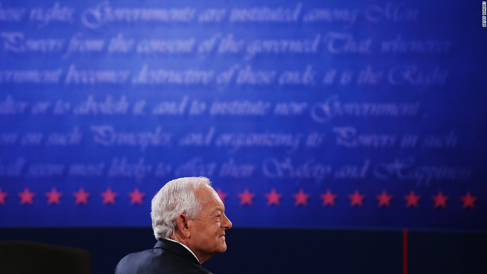 "Schieffer appears on stage prior to the debate Monday. He is CBS News' chief Washington correspondent and has been the host of the Sunday morning discussion show ""Face the Nation"" since 1991."