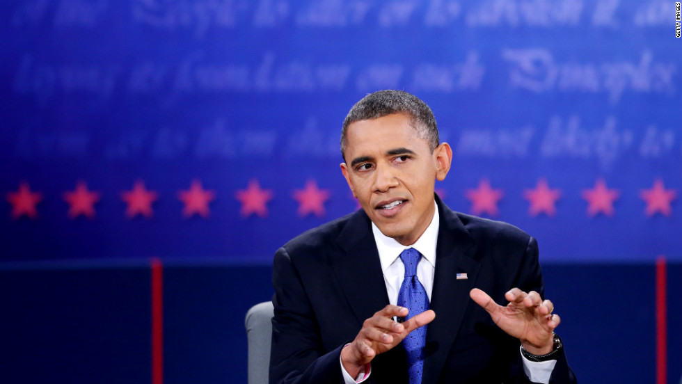 Obama makes a point during the debate.