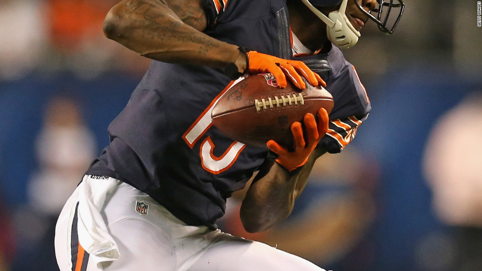 No. 15 Brandon Marshall of the Bears catches a pass against the Lions.