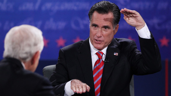 Romney gestures during the debate. The Republican nominee said Obama's foreign affairs policies have made the United States less respected and more vulnerable.