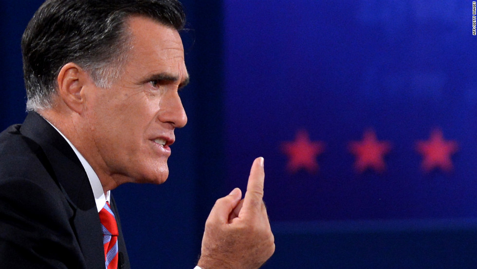 Romney emphasizes a point during the debate.