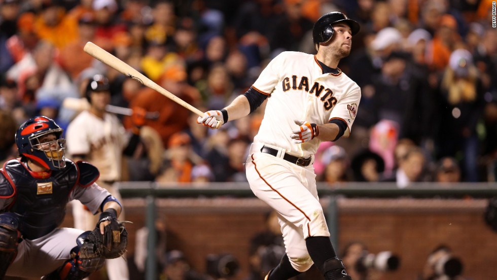 "Brandon Belt of the San Francisco Giants hits a solo home run in the eighth inning against the St. Louis Cardinals in Game Seven of the National League Championship Series on Monday, October 22 in San Francisco. The winner of this game will face the Detroit Tigers in the 2012 World Series. <a href=""http://www.cnn.com/2012/10/21/worldsport/gallery/nlcs-game-6/index.html"" target=""_blank"">Look back at Game Six of the NLCS.</a>"