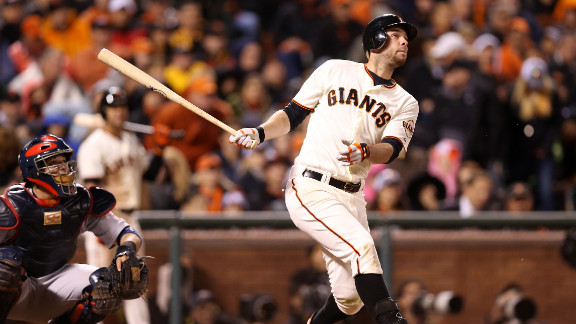 Brandon Belt of the San Francisco Giants hits a solo home run in the eighth inning against the St. Louis Cardinals in Game Seven of the National League Championship Series on Monday, October 22 in San Francisco. The winner of this game will face the Detroit Tigers in the 2012 World Series. Look back at Game Six of the NLCS.