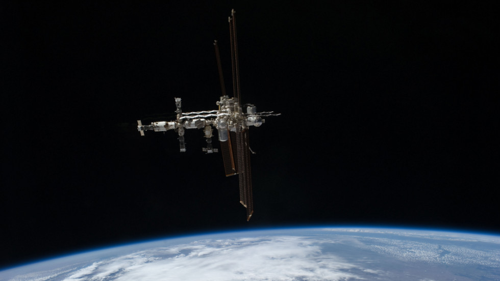 The space shuttle Atlantis took this photo of the International Space Station in July 2011.
