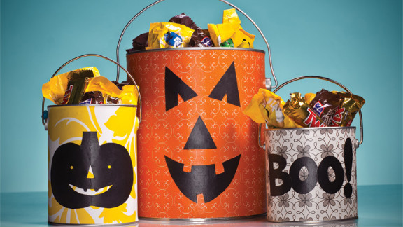 Trick-or-Treaters can reap the rewards of your living room makeover with the perfect candy recepticle.