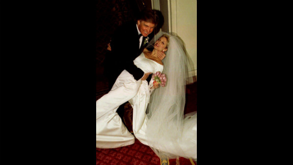 Trump dips his second wife, Marla Maples, after the couple married in a private ceremony in New York in December 1993. The couple divorced in 1999 and had one daughter together, Tiffany.