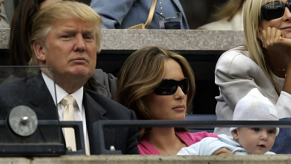 Trump attends the U.S. Open tennis tournament with his third wife, Melania Knauss-Trump, and their son, Barron, in 2006. Trump and Knauss married in 2005.