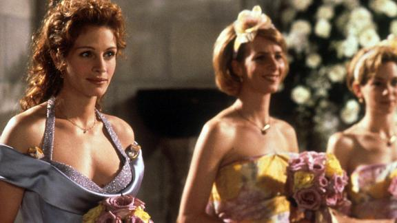 "In 1997's ""My Best Friend's Wedding,"" Roberts' Julianne becomes jealous when her best friend gets engaged. To make matters worse, the bride asks her to be the maid of honor. Julianne sets out to stop the wedding, but Cameron Diaz's Kimberly isn't giving up Michael, played by Dermot Mulroney, without a fight."