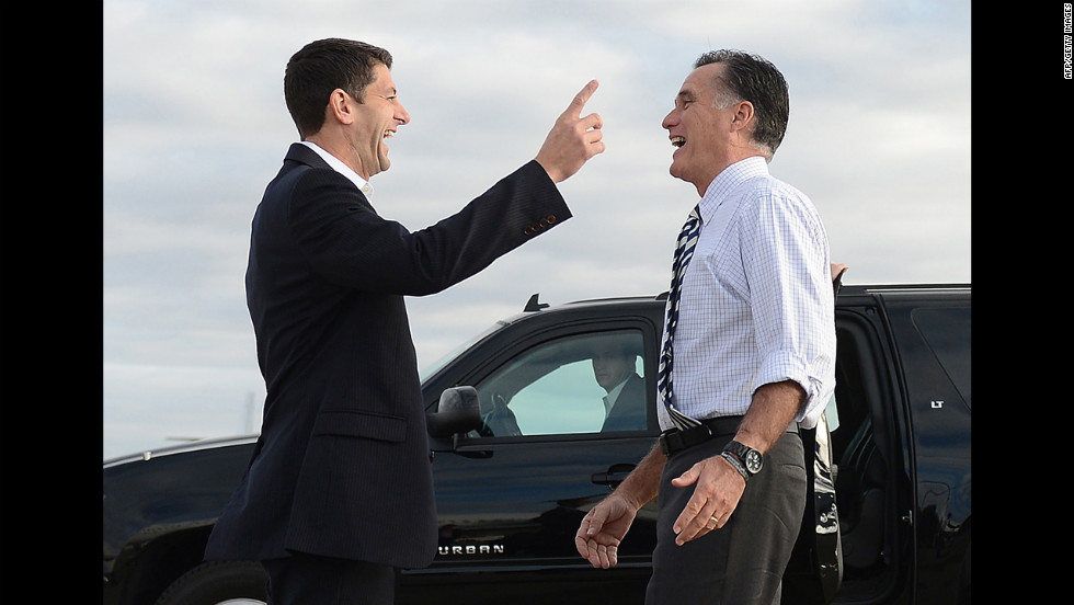 Romney says goodbye to Ryan at Denver International airport on Wednesday, October 24.
