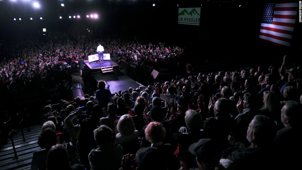 Romney holds a campaign rally at the Reno Event Center in Nevada on Wednesday.