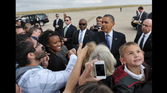 Obama greets people at Buckley Air Force Base in Aurora, Colorado, Wednesday.