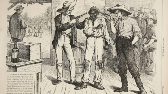 This political cartoon highlighting voter intimidation appeared in Harper
